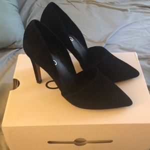 Suede black high heels
